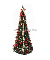 6' pop up christmas tree Pre-Lit Decorated Red/Gold Artificial Christmas Tree - Clear Lights