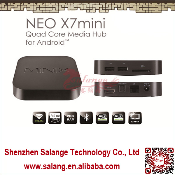 New 2014 made in China Qual Core DDR3 2G Nand Flash 8G Quad-Core Mali 400 NEO X7 mini <strong>hd</strong> media player android <strong>tv</strong> <strong>box</strong> by salange