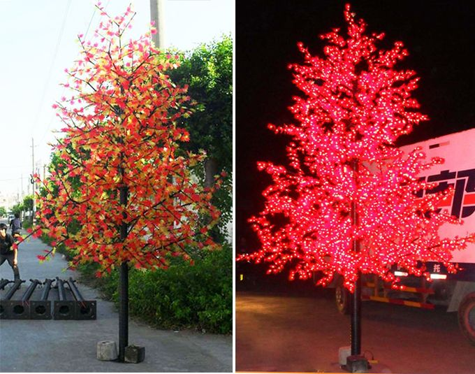 New Christmas Lights Ip65 Artificial Red Outdoor Led Lighted Maple Tree