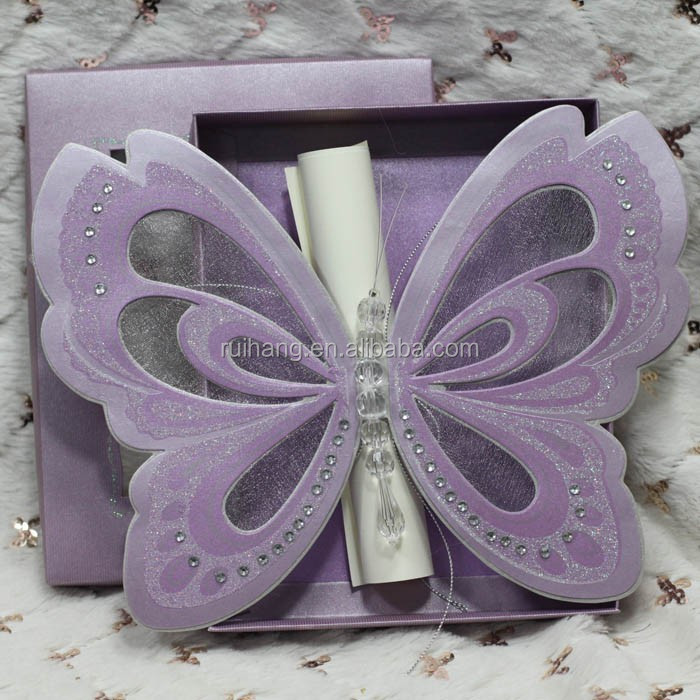 2015 high quality Roll butterfly wedding invitation card with box wedding card-T19