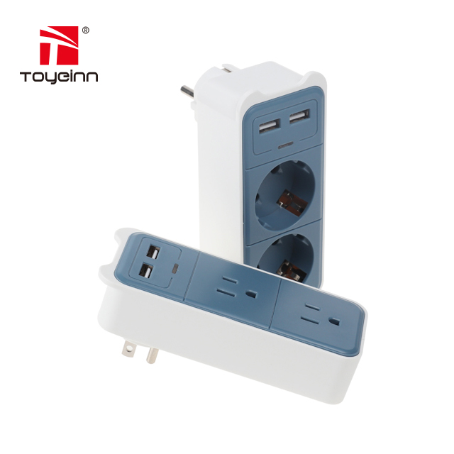 Wall-mounted Type USA AC 2 Outlet 2 USB Power Socket With Cheap price