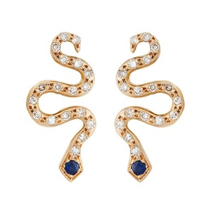 925 sterling silver sapphire eye 14K gold plated snake stud earrings