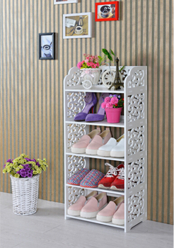 Creative Diy Pieced Pure White Wooden Carved Shoe Rack