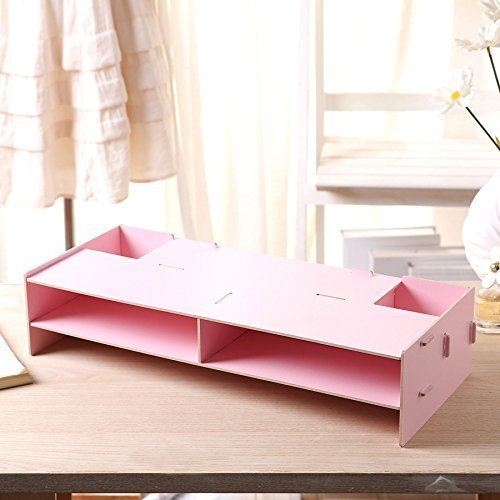 Wooden Monitor Stand Riser with Tier Storage Organizer, Desktop Organizer Extra Space for Keyboard Pen Slots, Document Sorter Shelf Letter Tray File Holder Paper Storage for Home/Office, Pink
