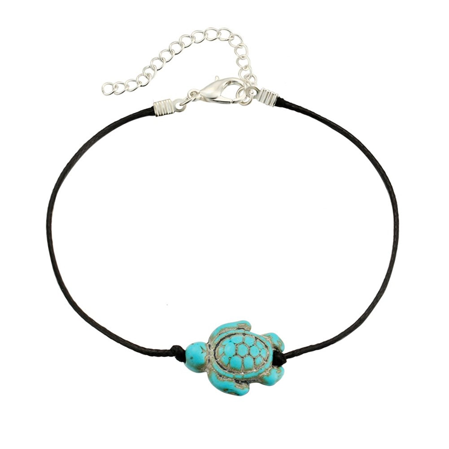 PORPI-JOJO Sea turtle Anklet Bracelet for Women Beach Animal Anklets Leather Chain Foot Jewelry