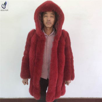 ALICEFUR The latest design russian winter warm hooded long blue fox fur coat for men