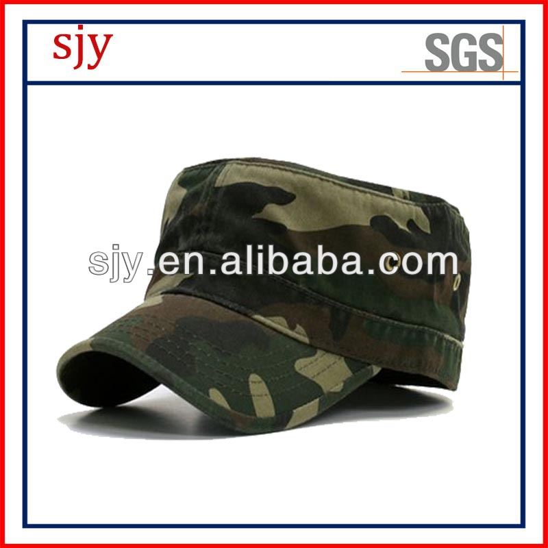 custom flat top camouflage 3D embroidered army cap