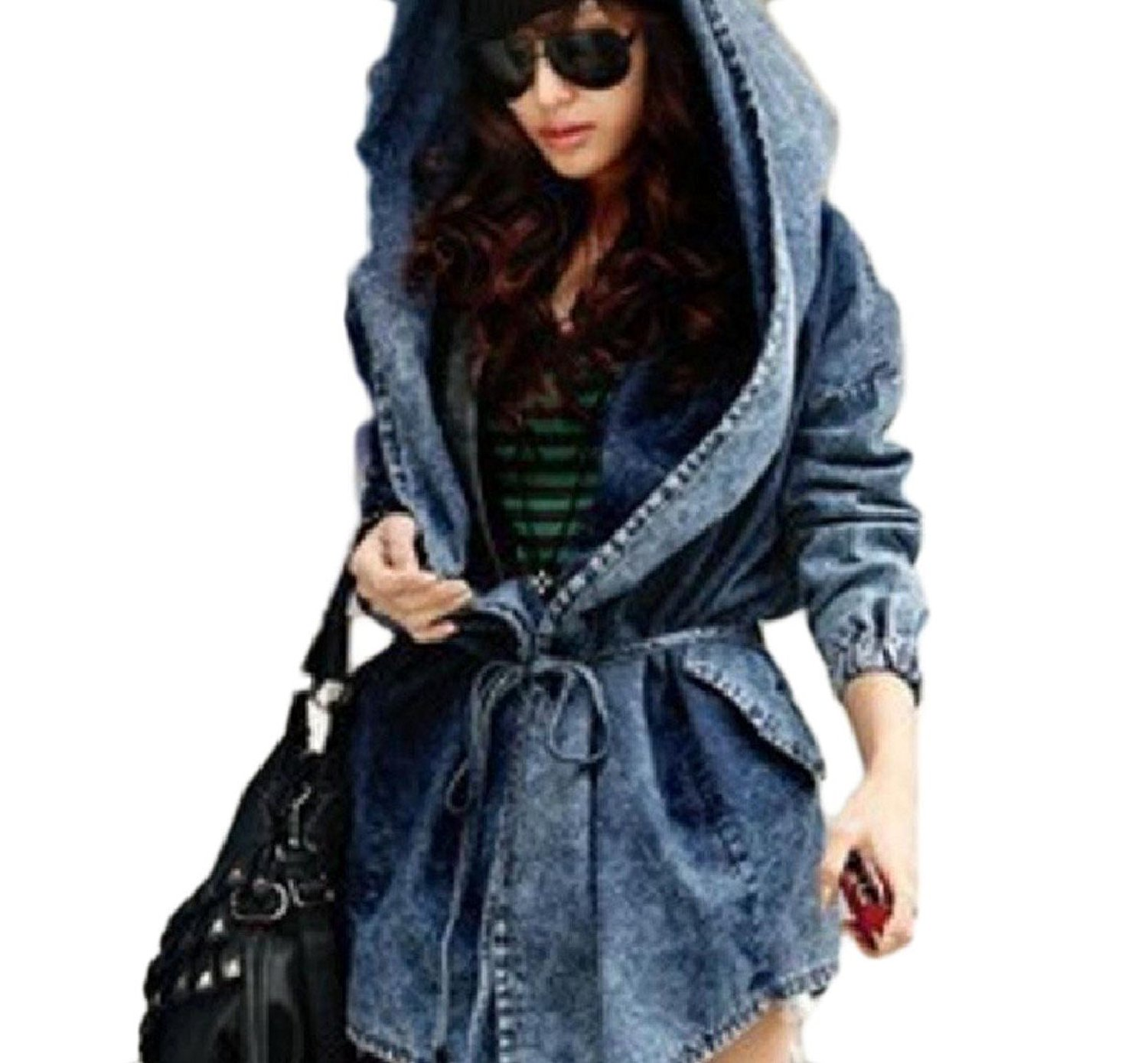 6f5602caa1 Get Quotations · Tootless-Women Caftan Poncho Smocked Waist Hooded Denim  Plus-Size Comfy Light Jacket Coat