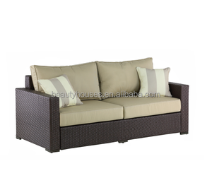 Outdoor rattan double seat sofa with cushion