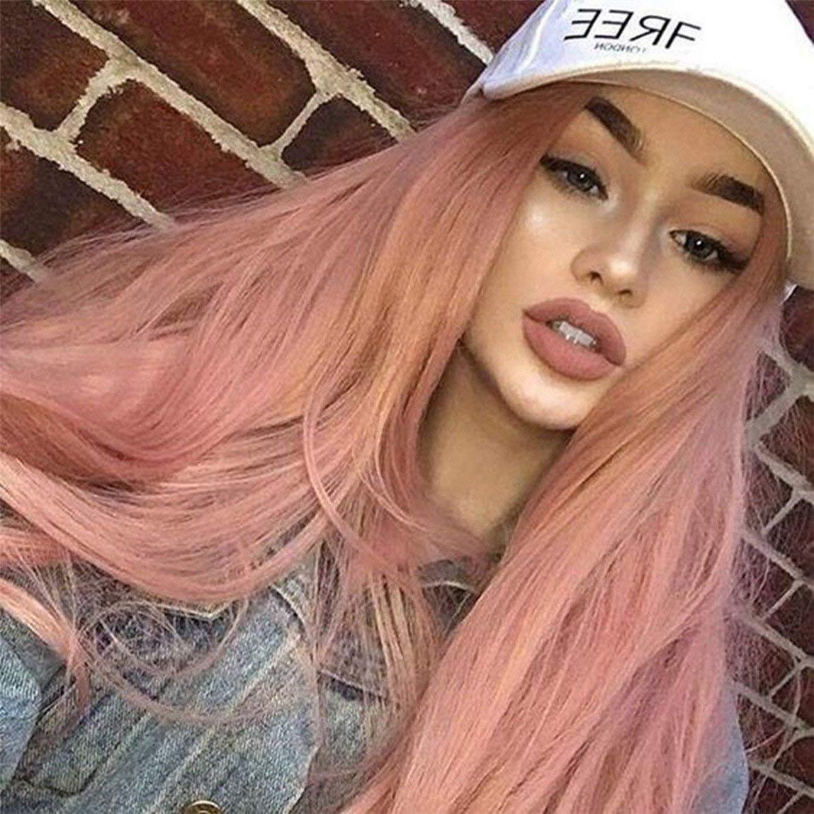 Cool2day Synthetic Lace Front Wig Ombre Pink Wig Silky Straight Long Wigs for Women Wigs with Dark Roots to Pink Heat Resistant Fiber
