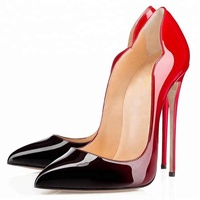 ODM Pointed Toe Women Leather High Heel Pumps Prom Wedding Party Shoes Evening Dress Shoes
