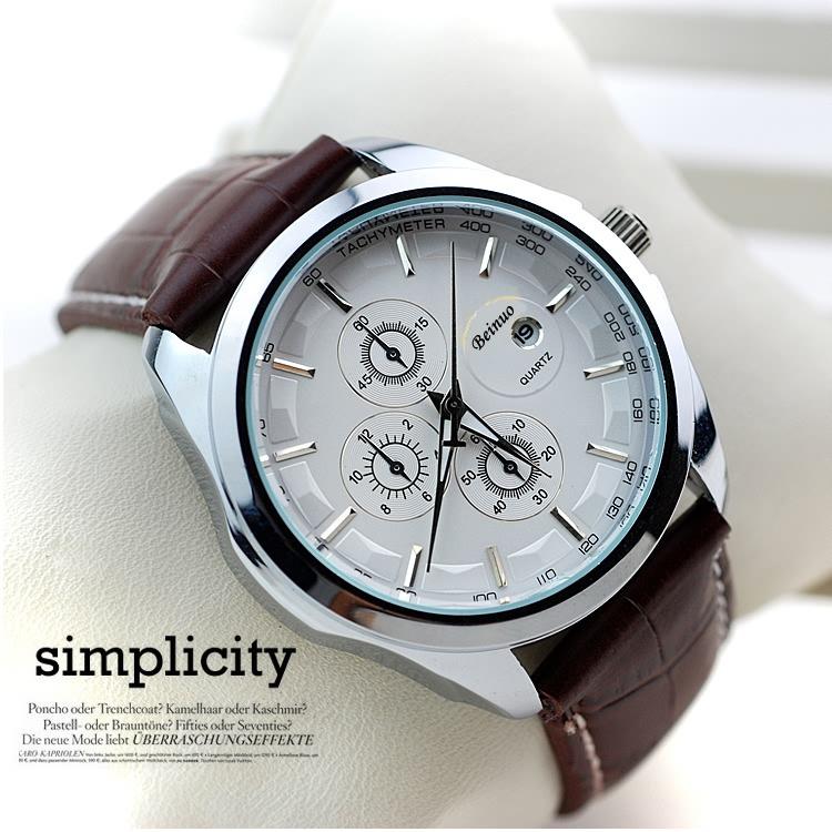 Модные мужские повседневные кварцевые часы люксового бренда в стиле милитари с кожаным ремешком