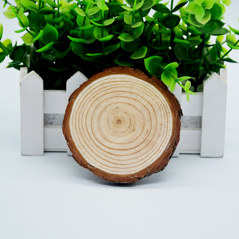 Natural Unfinished Wood Slices with Bark for DIY Handmade Wedding Craft Ornaments