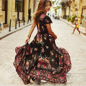 Women Summer V-Neck Vintage Boho Long Maxi Floral National Chiffon Dress Party Beach Floral Sundress