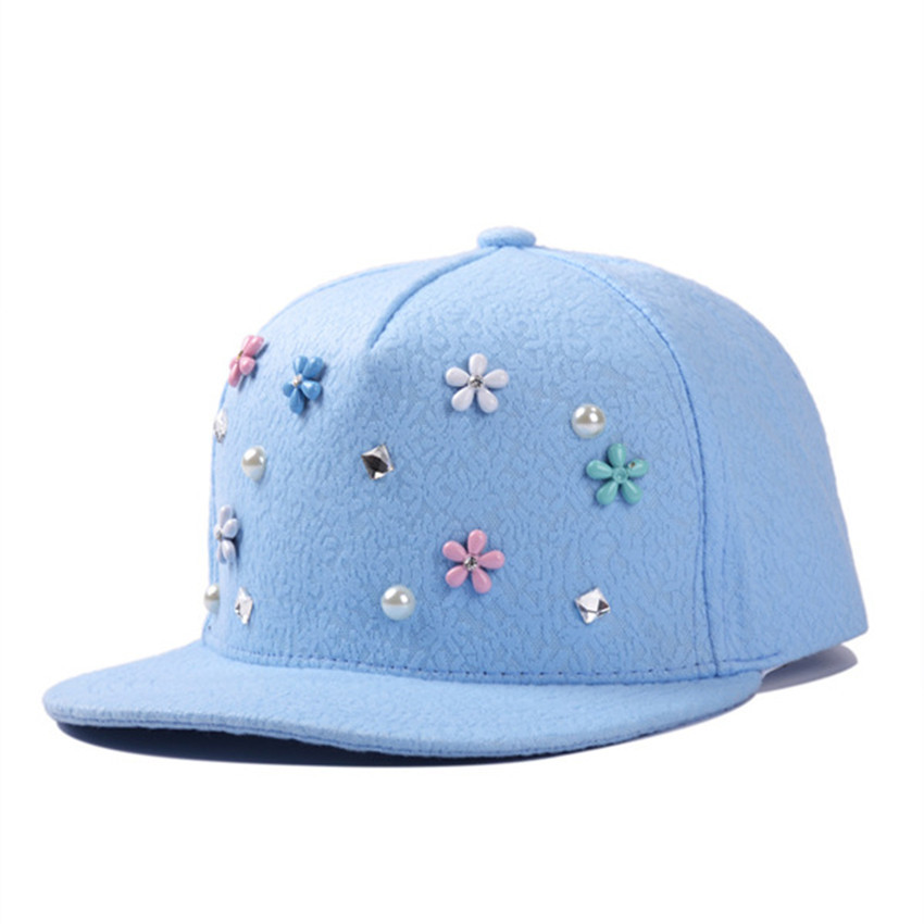 4b1761d27ceec Get Quotations · Snapback Gorras Hat Pearl Flower Lace Bon Flat Brimmed  Baseball Cap 3D Adjustable Hip hop Trucker
