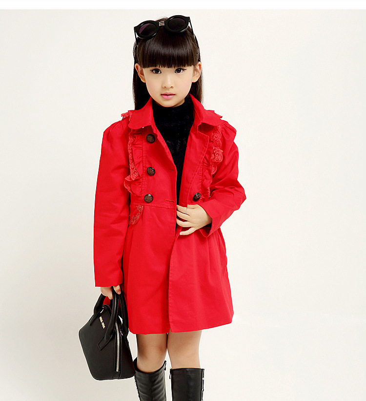 2015 new girl fashion cotton trench coat double breasted waist collected jackets coats windbreaker 5-11 girl clothes NB150812