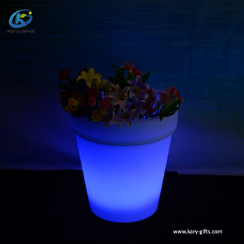 Guangdong Flower Pot White Plastic Planter Pot Lighted Outdoor Led