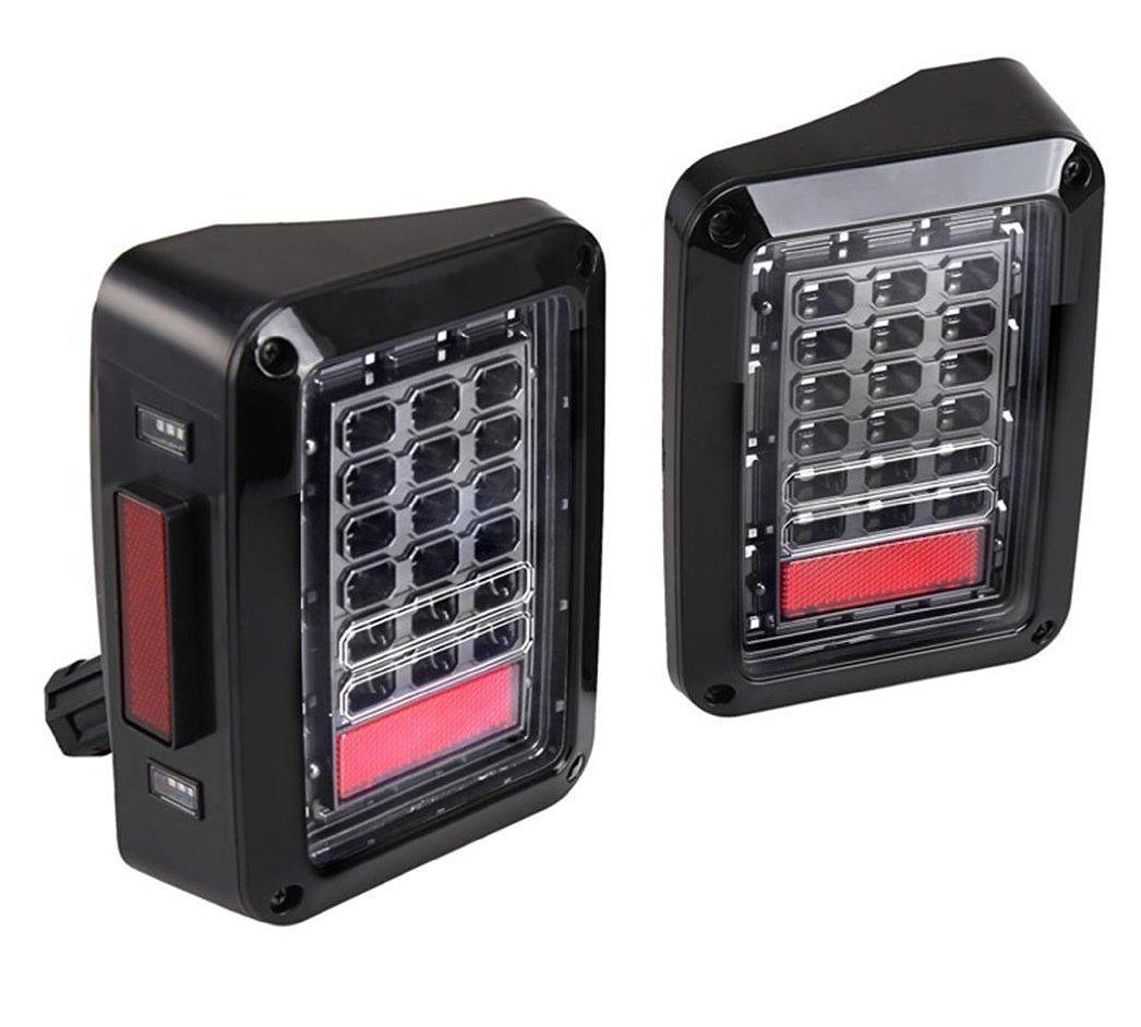 Esyauto 2 PCS LED Tail Light Us Red Version for Jeep Wrangler Jk 2007-2014