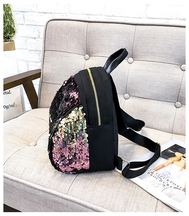 women Colorful Reflective splicing PU Adjustable Women's Trendy Paillette Magic Reversible Mermaid Sequined Student Backpacks