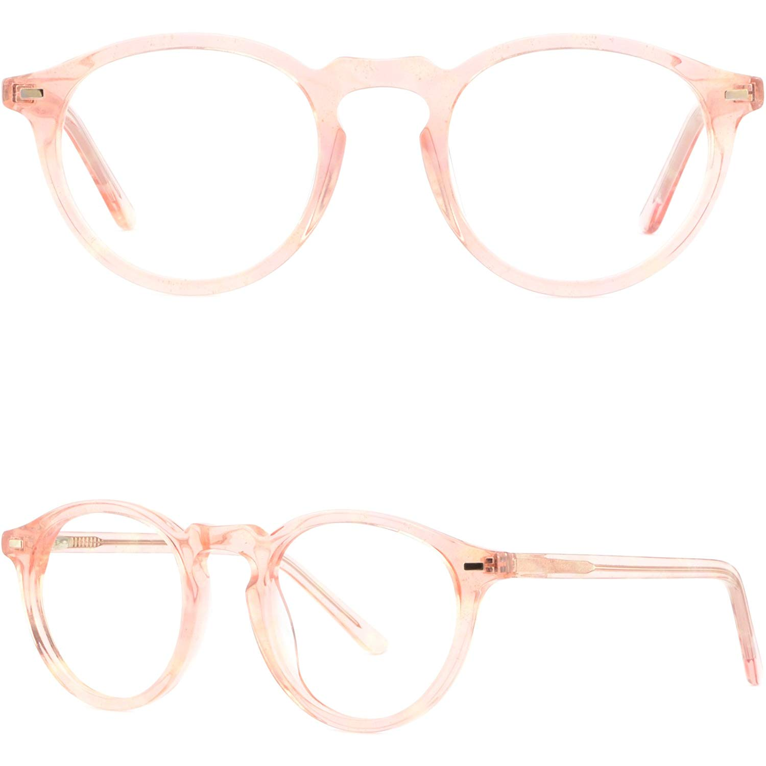 c078725aa7b Get Quotations · Round Women s Plastic Frames Acetate Prescription Glasses  Eyeglass Spring Hinges