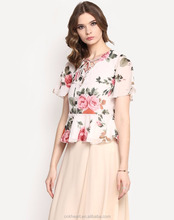 Women Fashion Floral Printed Frill Short Sleeve Lace Up Front Peplum Tops