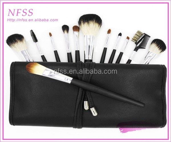 factory supply brush makeup brushes 12pcs/set nylon hiar make up brush bag