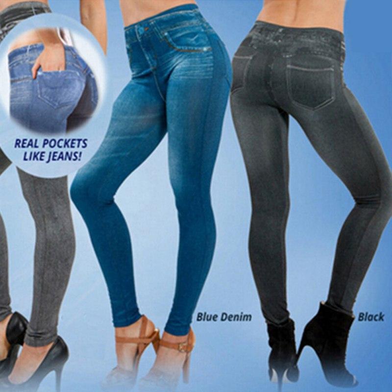 1a04187b492 2019 Wholesale Women S Leggings Jeans Denim Pants With Pocket Slim ...