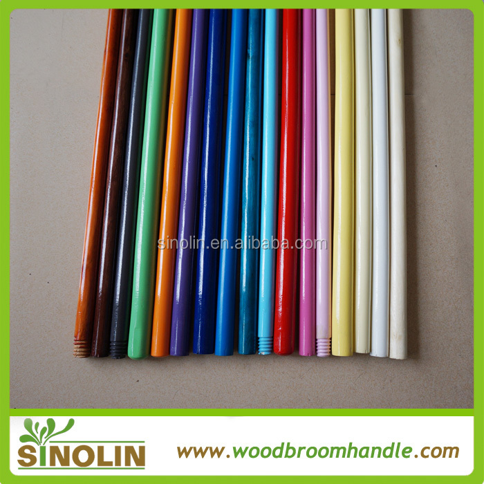 Household cleaning painted wooden broom stick from SINOLIN