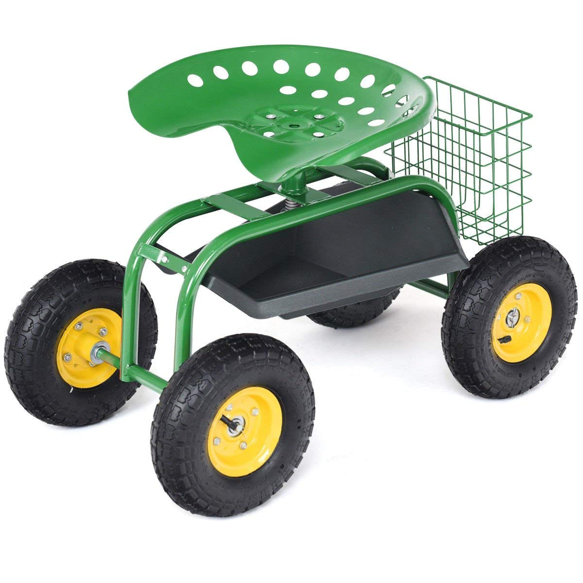"PNPGlobal Garden Cart Rolling Work Seat with Tool Tray Heavy Duty Gardening Planting Green New, 31.5"" L x 18"" W x 21.5"" H"