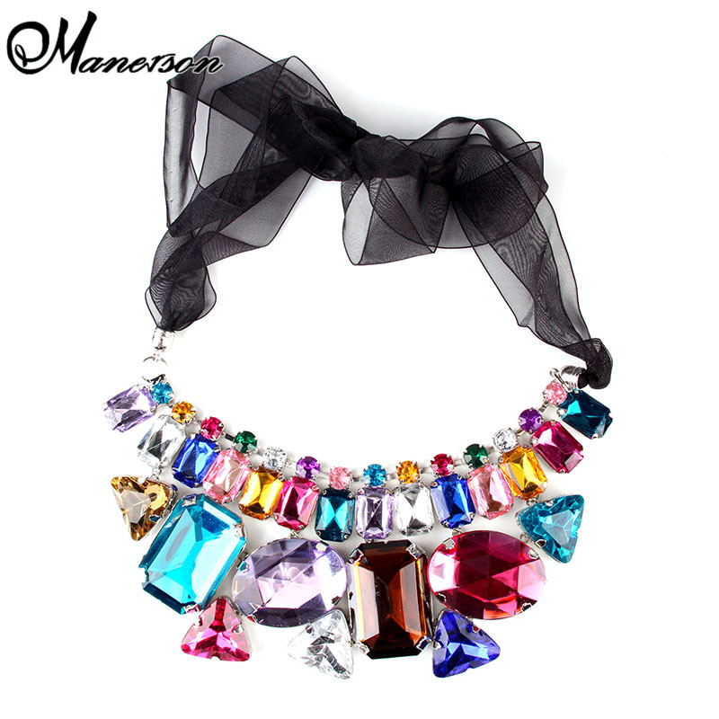 New Arrival Retro Fashion Trends Gem Colorful Stone Silk Necklace Vintage Jewelry Choker Collar Jewelry B4118