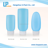 60ml, 100ml and 200ml light blue Sun block body lotion bottles with flip top cap for cosmetic packaging