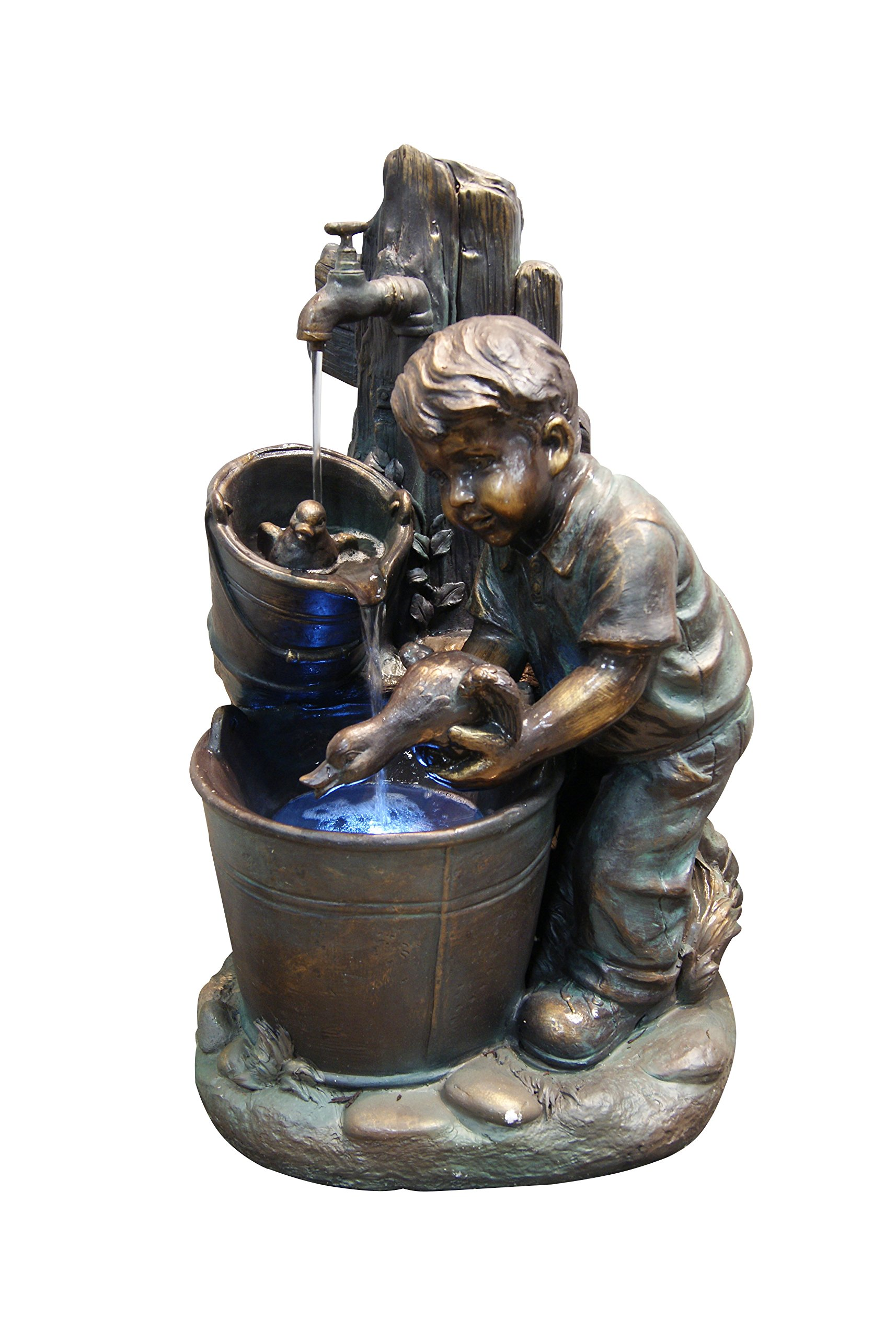 Alpine GXT476 Boy Washing Duck in Bucket Fountain with LED Light