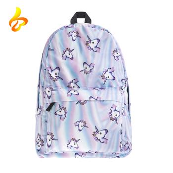 45ad0ac3f38a Оптовая продажа Полиэстер Сублимации 3D печать школьные рюкзаки рюкзак с  единорогом для девочек-подростков