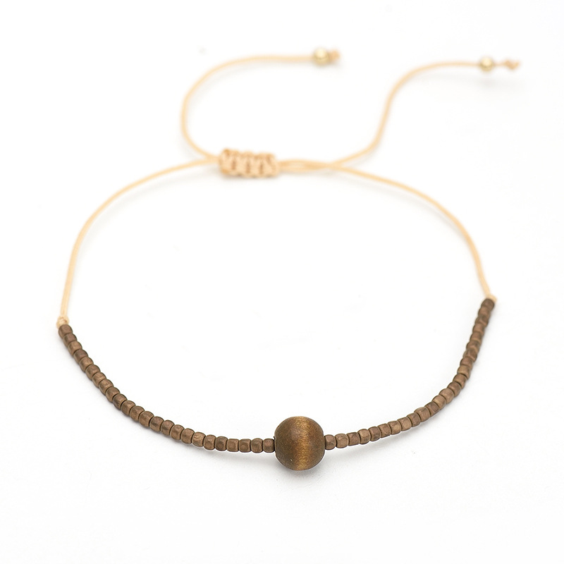 Japan Miyuki Jewelry Eco Friendly Resin Cube Wooden Bracelet Braided, As photo