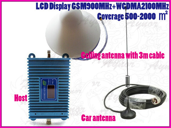 Car Antenna Booster: Dual Band GSM/WCDMA LCD Display 900/2100MHz Signal
