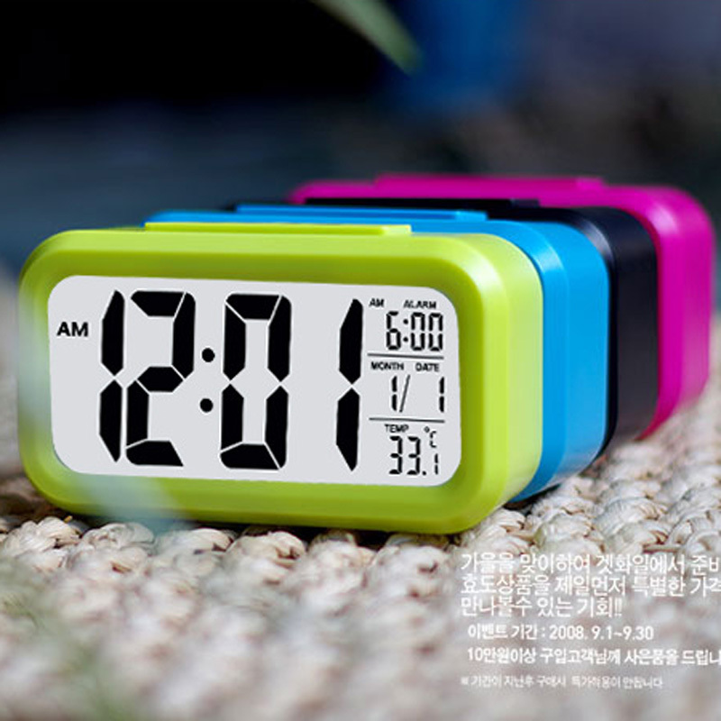 Mini Digital LED Alarm Clock Thermometer Calendar Display Desk Clock