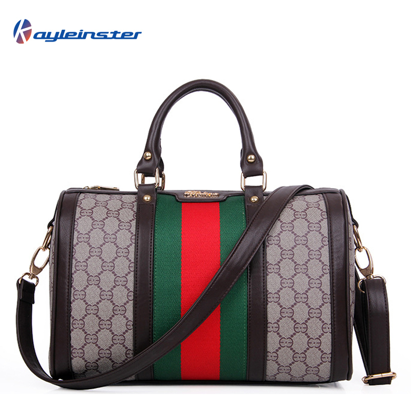 2015 Famous Brand Women Leather Handbags Panelled Boston Print Women Shoulder Bags High Quality Vintage Bolsas Femininas Tote
