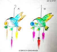 Hand Carved Beautiful Hummingbird Metal Colorful Wind Chimes Indoor and Outdoor Garden Cast Iron Decoration