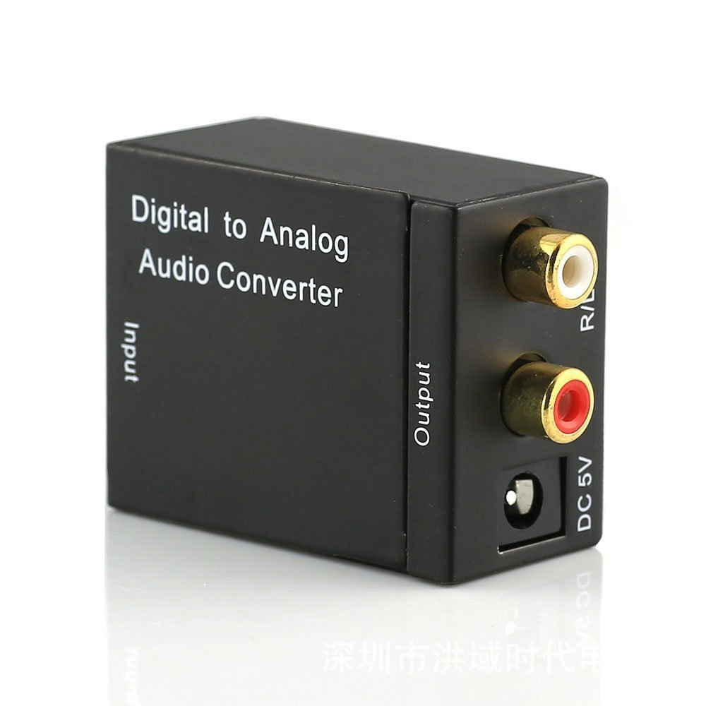 C-zone Digital Optical Coaxial Toslink Signal to Analog Audio Converter Adapter US Plug Audio Converter Adapter RCA