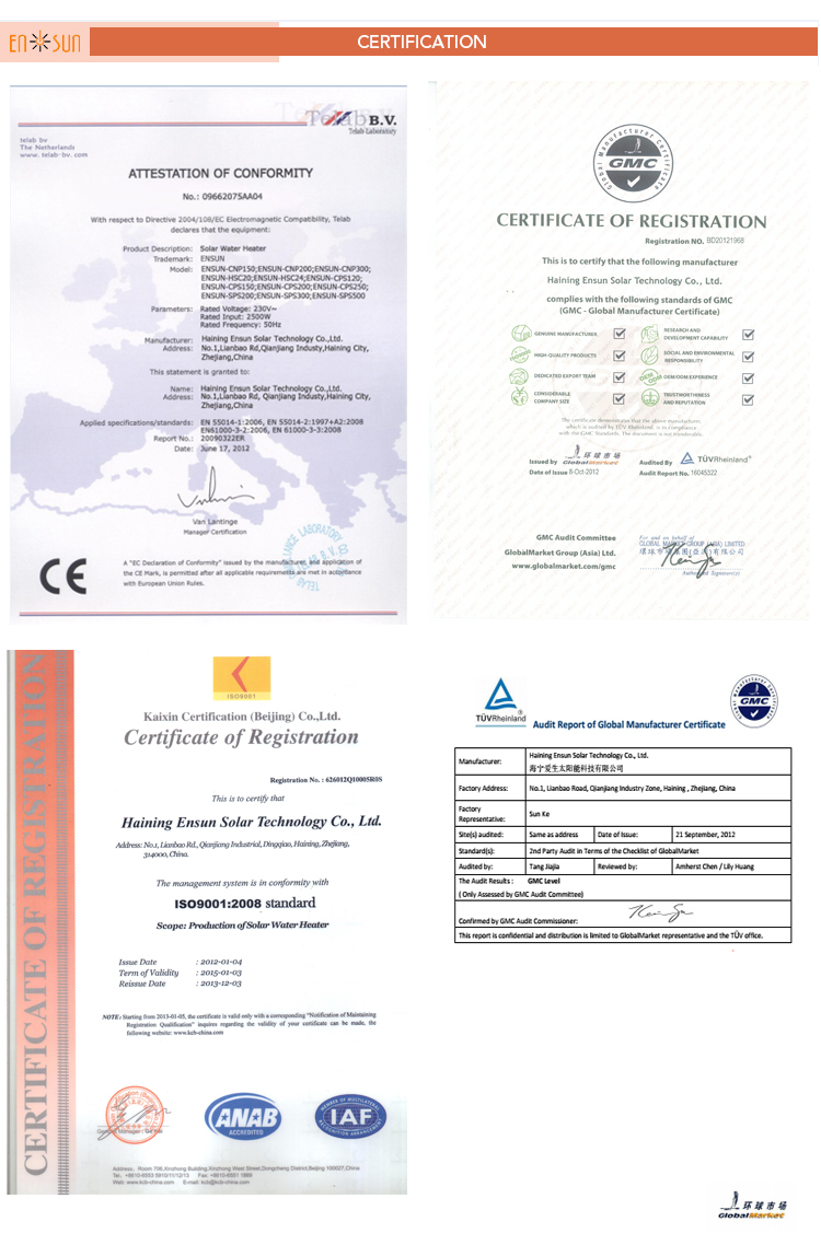 CE Certificate High Technology Collector Solar Evacuated Tube