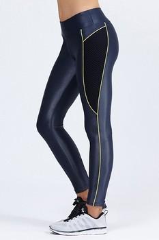 bb45fe8bdfdd9 85% Polyamide 15% Lycra Spandex Shiny Black Leggings With Back Zipper