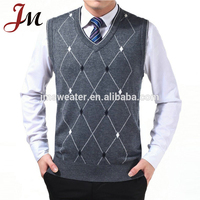 Guangzhou custom sweater manufacturer mens knitted pullover vest Autumn Winter wool V-neck crochet sweater vest pattern for men