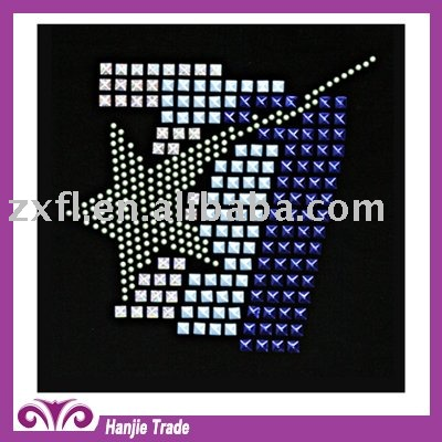 Fashion letter design iron on crystal rhinestone rhinestud motif transfer for T-shirt,hats,shoes & garment