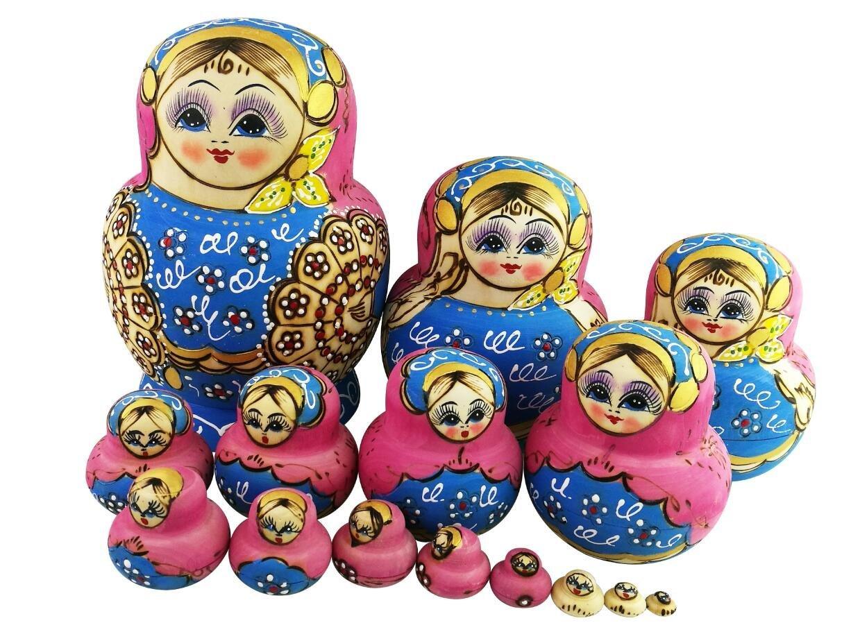 Buy Lovely Pink and Blue Little Girl Fan Pattern Handmade Wooden ...