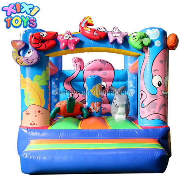 XIXI New Finished Sea World Fishes Inflatable Jumping Bouncer for Sale
