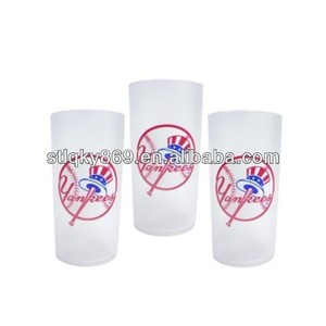 lyT306 Customized White Glass Tumbler Wholesale Frosted Glass Logo Printed Frosted Drinking Glasses