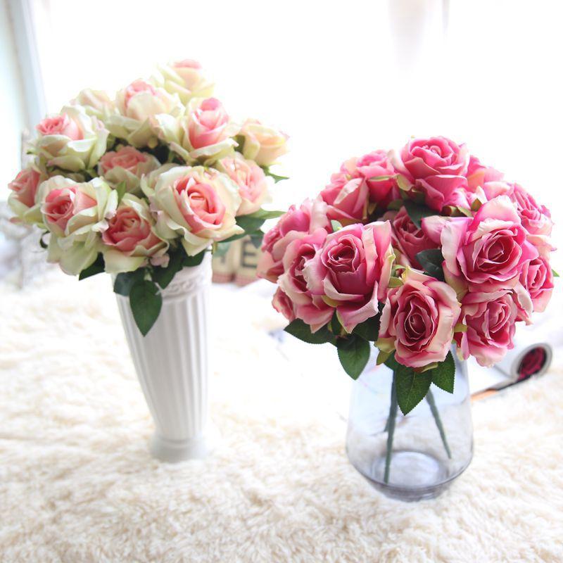 Flor artificial de la sensación verdadera tela de seda rose bouquet