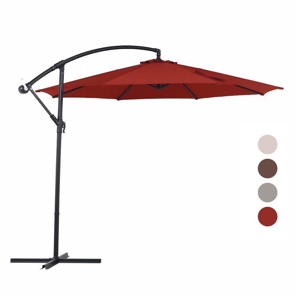 Grand patio 10 FT Offset Umbrella, UV Protective Pool Umbrella, Aluminum Cantilever Umbrella Crank Air Vent, Red