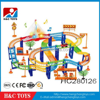 funny plastic city electric toy cars race track for kids hc280126