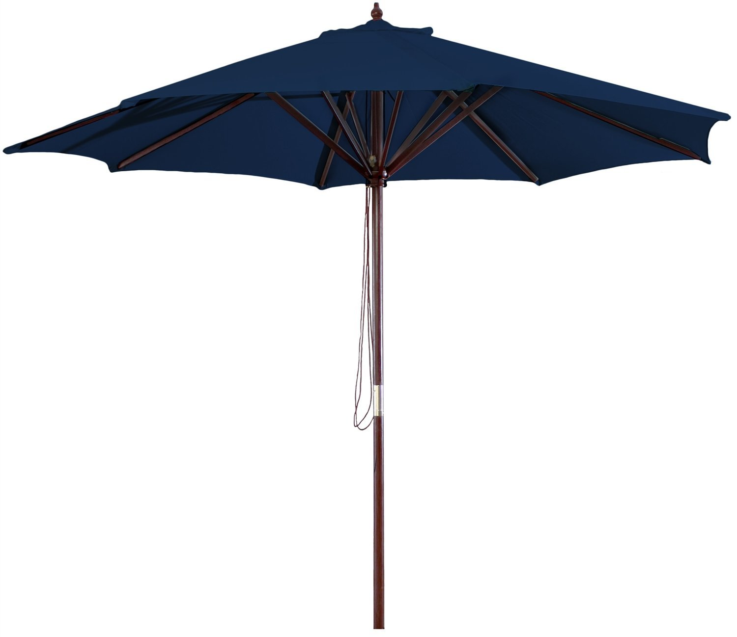 Get Quotations · Navy Blue 9 Foot Outdoor Patio Umbrella With Wood Frame  And Pulley